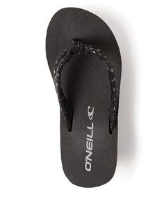 Take a look at this Black Little Tiki Wedge Flip-Flop - Kids by O'Neill on #zulily today!