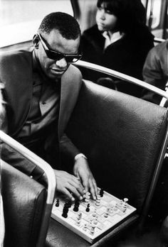 Ray Charles playing chess on a bus 1966.