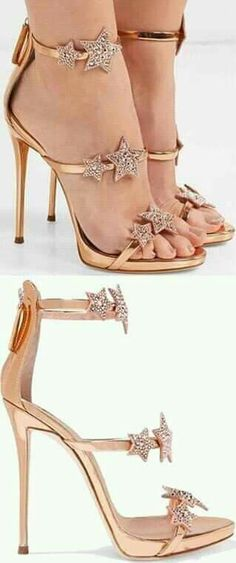 32b5303a62 The slim straps on these rose gold 'Coline' sandals are decorated with  crystal-embellished suede star appliqués. Although the heel is high, ...