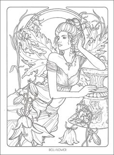 Bellflower Fairy Fae Fantasy Myth Mythical Mystical Legend Elf Wings Fantasy Elves Faries Coloring pages colouring adult detailed advanced printable Kleuren voor volwassenen coloriage pour adulte anti-stress Coloring Pages For Grown Ups, Fairy Coloring Pages, Adult Coloring Book Pages, Colouring Pics, Free Coloring Pages, Printable Coloring Pages, Coloring Books, Kids Coloring, Colorful Drawings