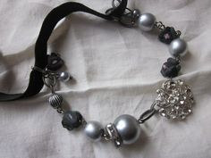 Wedding Bracelet Bridal Charm Bracelet Silver Gray by JoieLaVie, $45.00