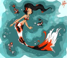 Koi Mermaid colored by ~Rhyssian on deviantART Fantasy Creatures, Mythical Creatures, Sea Creatures, Fantasy Mermaids, Mermaids And Mermen, Siren Mermaid, Mermaid Art, Mermaid Drawings, Mermaid Coloring