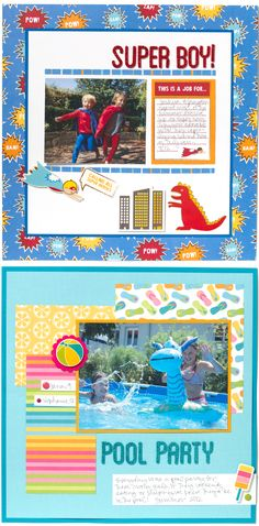 Cute Scrapbook pages! New designs for 2013: Party with Amy Locurto for @PebblesInc