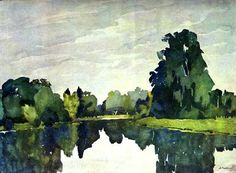 A Pond in Pavlovsk.Watercolour by Anna Ostroumova-Lebedeva, 1922. Пруд в Павловске. Акварель. Остроумова-Лебедева 1922