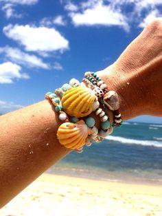 Sunrise shell wrap bracelet  Hawaii shell jewelry by HayleySommer, $100.00