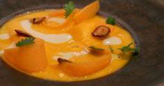 La recette du velouté de potirons, avec ses pépins grillés et une crème de hareng fumé