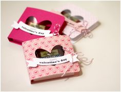 cute little heart Valentine's Day favor boxes - perfect size for Ghirardelli squares.