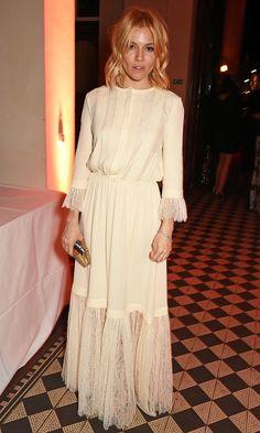Sienna Miller looking romantic + bohemian.