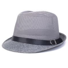 ea1b38af New Mens Summer Styles Breathable Travel and Casual Jazz Hat Hollow Grid  Formal Fashion Trendy Linen Hat Fedora Cap