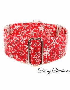 Christmas Martingale Dog collar 1.5 red martingale by CollarTown, $18.00