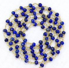 5 Feet Natural Lapis Lazuli Gemstone Faceted Beads 24k Gold Plated Link Chain. by Sunrisegemstone on Etsy