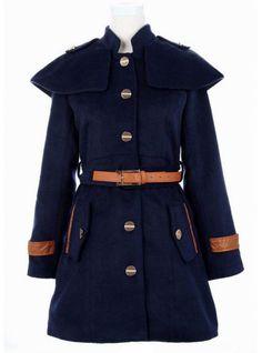 Navy  Cape Collar Skirt Hem Woolen Coat$98.00