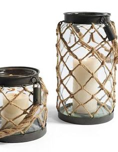 Bring a coastal feel and warm glow to your outdoor space with the Nautical Rope Lantern.