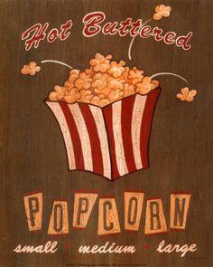 vintage popcorn  | Hot Buttered Popcorn Impressão artística