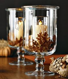 How to make an inexpensive glass hurricane for fall. Looks like it came out of the Williams Sonoma catalogue!