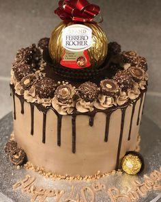 celebration cakes new style ferrero rocher cake - - Ferro Rocher Cake, Ferrero Rocher Torte, Beautiful Cakes, Amazing Cakes, Hazelnut Cake, Star Cakes, Drip Cakes, Creative Cakes, Chocolate Cake