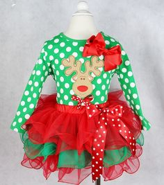 Little Girls Rudolph Christmas Outfit Christmas Tutu, Christmas Costumes, Christmas Clothing, Christmas Dresses, Rudolph Christmas, Toddler Christmas, Tutu Outfits, Toddler Outfits, Kids Outfits