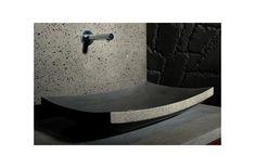 60X40 Vasque de Salle de Bain en Pierre à Poser Basalte Noire - LOTUS Concrete Sink, Bathroom Lighting, Bathtub, Lotus, Mirror, Home Decor, Design, Products, Granite Shower