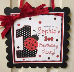 Door Sign  Classic Ladybug in Red and Black by ciaobambino on Etsy