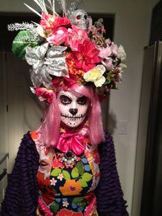 Dia de los Muertos Fiesta de Carnaval handmade headdress wig. $159.00, via Etsy.