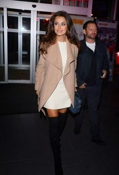 outfit perfection. White dress, sand beige coat and sexy over the knee boots