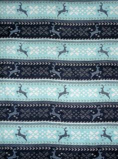 BLUE DEER NORDIC WINTER Flannel pillow cases PAIR 100% cotton NEW handmade #Handmade #Traditional