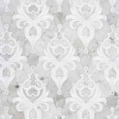 a damask in waterjet cut marble
