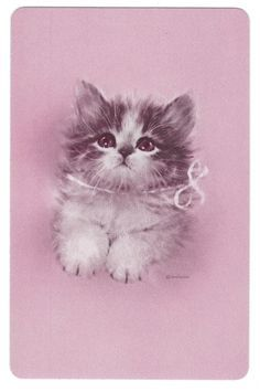 pretty sure I had this Swap Card. not as listed. Just seeing it brings back my love of them. Vintage Playing Cards, Vintage Greeting Cards, Vintage Postcards, Vintage Happy New Year, Cute Animal Drawings, Cat Cards, Vintage Cat, Background Vintage, Canvas Pictures
