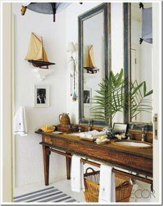 coastal cottage bathroom + antique table turned vanity