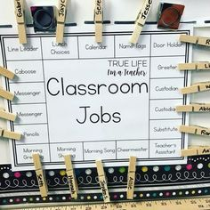 Class Jobs Made Easy (True Life I'm a Teacher) It's no secret that I am a MAJOR fan of class jobs - I mean.many hands make light work, right? Aside from having 20 or so helpers around the classroom, there's a whole bunch of other reasons I think Classroom Job Chart, 5th Grade Classroom, Classroom Design, Future Classroom, Classroom Jobs Display, Year 3 Classroom Ideas, Classroom Layout, Classroom Helpers, Classroom Themes