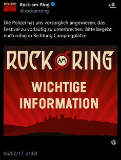 "#Breaking #Germany, Rock am Ring festival ""suspended due to terror threat"". ☹ 😔 ☹    #news #rockamring #terrorism #deutschland"