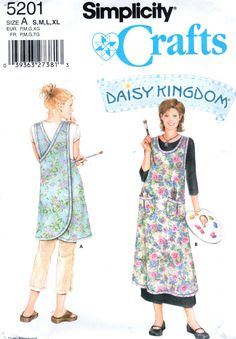 Simplicity 5201 Daisy Kingdom Misses Wrap Around Apron Beach Cover Up Sewing Pattern by mbchills