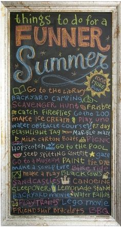 pretty pink tulips: Summer Fun, love the fun on this chalkboard!  How about you?  A summer bucket list?