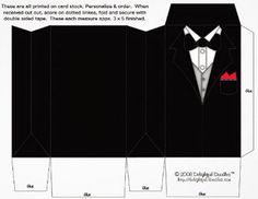 Free Printable Tuxedo and Bride Dress Wedding Boxes.