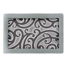 Maori Tribal Tattoo Pattern Belt Buckle