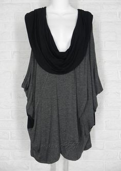MATCH POINT Vest Scoop Cowl Neck Faux Wrap Layering Jersey Charcoal Black NWT XL #MatchPoint