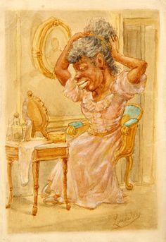 Frente al Espejo (Delante del Espejo) Víctor Patricio Landaluze ca 1880 tinta y acuarela sobre papel grueso establecidas a bordo 5 3/4 x 4 pulgadas 04547