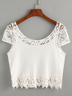 Top crochet inserto crop-(Sheinside)