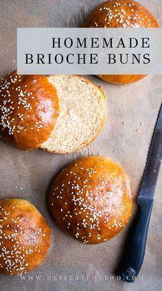 Homemade Hamburger Buns, Hamburger Bun Recipe, Homemade Buns, Homemade Hamburgers, Homemade Brioche, Brioche Recipe, Brioche Bun, Recipes With Yeast, Fruit Recipes