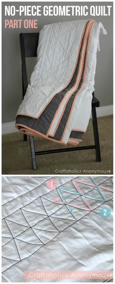 Geometric quilt. Very easy quilt to sew! Lover her idea to use flat sheets and then sew cool designs in contrasting thread when quilting it.