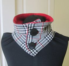 Men's Or Women's cowl collar scarf in a black and by PrestonCourt, $18.50