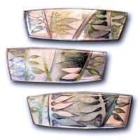 Carolyn Delzoppo - Brooch Series - Night and Day - Sterling silver, cloisonné and champleve enamel - A series of brooches based on plant forms and light and shade