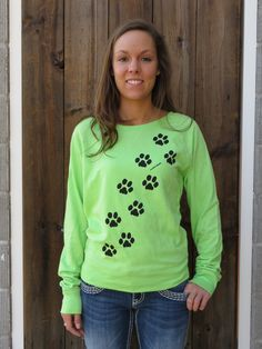 Pawprints on Ladies French Terry Pullover #marushkahandprints Grand Haven, MI