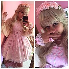 First time trying on Sugary Carnival. I am pleased.  JSK: Angelic pretty  OTK: Baby The Stars Shine Bright  Shoes: An Tai Na Wig: Lockshop Headband: H&M