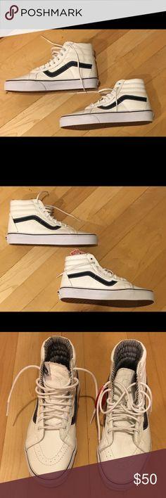 Vans Sk8-Hi sneakers Vans Sk8-Hi sneakers white with blue stripes size 8 NWT Vans Shoes Sneakers