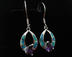 925 solid sterling silver earrings with blue opals inlay and amethyst stone