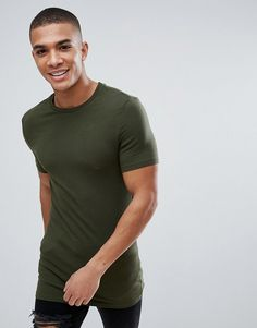 the latest a4bac d265d Asos Longline Muscle Fit T-Shirt With Crew Neck In Green Fitness-motivation,