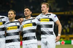 Tony Jantschke Lars Stindl and Andre Hahn of Borussia Moenchengladbach celebrate after the Uefa Champions League Playoff match between Young Boys...