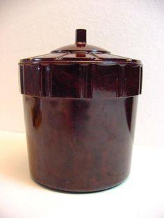art deco bakelite lidded jar, dark red-brown