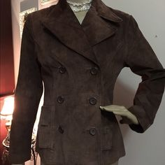 FINITY STUDIO SUEDE JACKET FINITY STUDIO CHOCOLATE SUEDE DOUBLE BREASTED JACKET MISSING BUTTON SEWN ON INSIDE OF LINING EXCELLENT CONDITION LADIES SIZE 8PETITE Finity studio Jackets & Coats Utility Jackets